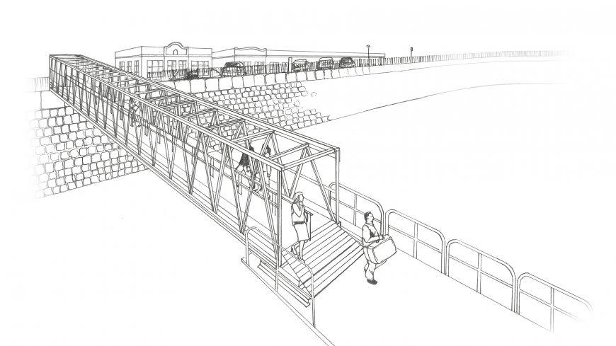 Metalu Holland macht Art Impression für eine Zugangsbrücke